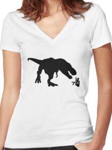Jurassic Park T-rex Eats Man on Toilet Funny Women's Fitted V-Neck T-Shirt