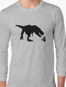 Jurassic Park T-rex Eats Man on Toilet Funny Long Sleeve T-Shirt