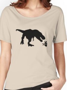 Jurassic Park T-rex Eats Man on Toilet Funny Women's Relaxed Fit T-Shirt