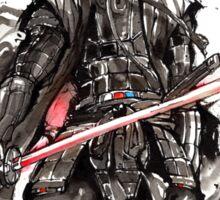 Samurai Darth Vader sumi ink and watercolor Sticker