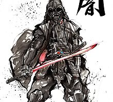 Samurai Darth Vader sumi ink and watercolor by Mycks