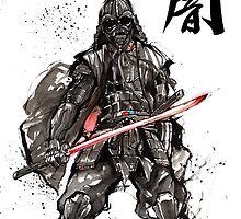 Samurai Darth Vader sumi ink and watercolor by Mycks