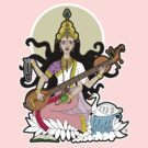 Hindu Goddess of the Arts by thickblackoutline