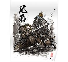 Kili and Fili from the Hobbit sumi ink and watercolor Poster