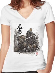 Kili and Fili from the Hobbit sumi ink and watercolor Women's Fitted V-Neck T-Shirt