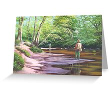 Fishing the river Blyth Greeting Card
