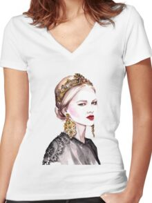FASHION  Women's Fitted V-Neck T-Shirt