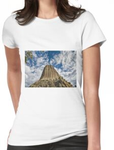 Looking Up at Devils Tower Womens Fitted T-Shirt