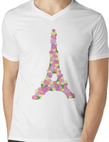 Flower Eiffel Tower Mens V-Neck T-Shirt