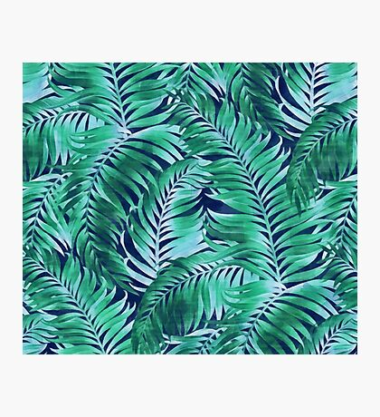 Palm leaves pattern on a dark blue background Photographic Print