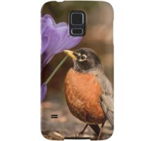Robin in the spring flowers Samsung Galaxy Case/Skin