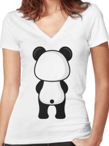 Panda Back Side Women's Fitted V-Neck T-Shirt
