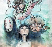 Spirited Away Miyazaki Tribute Watercolor Painting by barrettbiggers