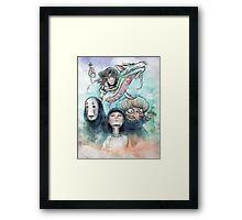 Spirited Away Miyazaki Tribute Watercolor Painting Framed Print