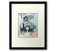 Spirited Away Miyazaki Tribute Watercolor Painting Framed Print