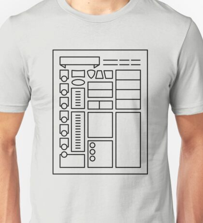 Character Sheet - Dungeons & Dragons Line Art Series Unisex T-Shirt