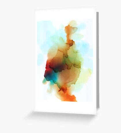Red Blue Orange Green Abstract Print Greeting Card