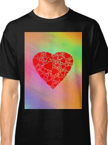 Hearts on Rainbow Background Classic T-Shirt