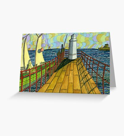 149 - BLYTH PIER 1914 (WATERCOLOUR) Greeting Card