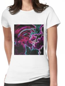 psychedelic geometric painting abstract night light in pink purple blue and black Womens Fitted T-Shirt