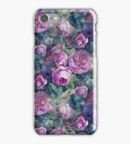Floral pink roses pattern iPhone Case/Skin
