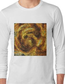 psychedelic geometric camouflage painting abstract in brown yellow and black Long Sleeve T-Shirt
