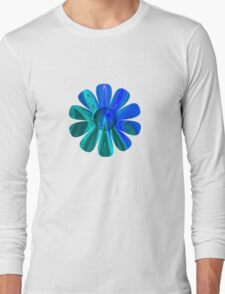 Blue Abstract Flower Long Sleeve T-Shirt