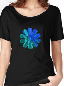Blue Abstract Flower Women's Relaxed Fit T-Shirt