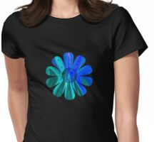 Blue Abstract Flower Womens Fitted T-Shirt