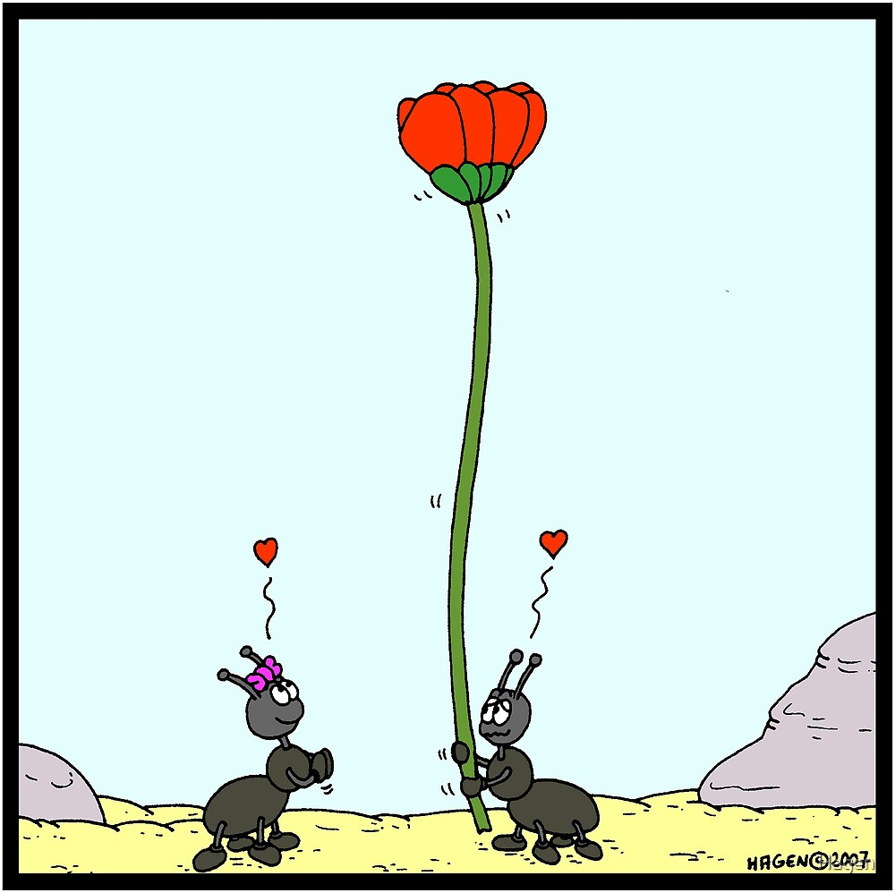 Ant offering a flower by Hagen