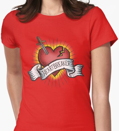Heartbreaker Vintage Tattoo Design Womens Fitted T-Shirt