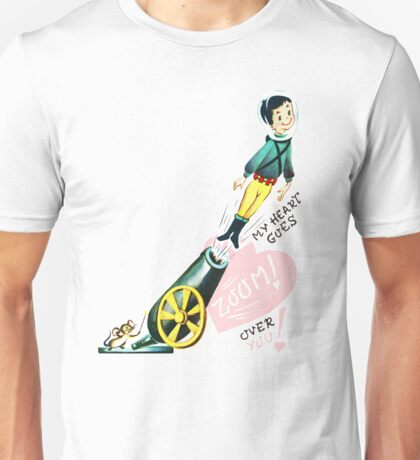 """My Heart Goes ZOOM!"" - Vintage, Valentine's Day, Inspired, Card, Retro, Vday, Shot, Cannon, Boy, Girl, His, Her, Love, Romantic, Romance, Pink, Hearts, Sweet, Cute Unisex T-Shirt"
