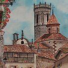Watercolour ,   Rupit Barcelona . by Irene  Burdell