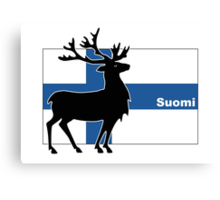 Suomi: Finnish Flag and Reindeer Canvas Print