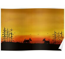 Scottie Dogs At Dusk Poster