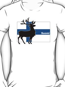 Suomi: Finnish Flag and Reindeer T-Shirt