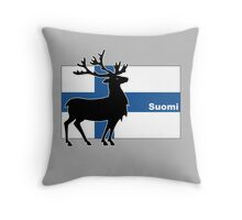 Suomi: Finnish Flag and Reindeer Throw Pillow