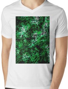 psychedelic geometric drawing abstract in green black and white Mens V-Neck T-Shirt