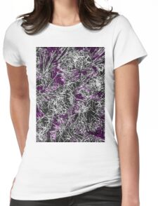 psychedelic geometric sketching abstract in pink purple black and white Womens Fitted T-Shirt