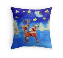Little Angel on a Reindeer by Marie-Jose Pappas Throw Pillow