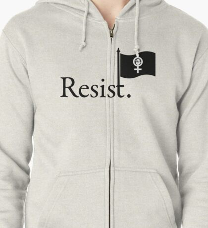 Resistance Flag - Feminism (black letter) Zipped Hoodie