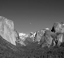 Moon Over Half-Dome - Yosemite National park by Alan Brazzel