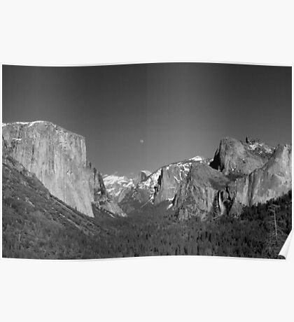 Moon Over Half-Dome - Yosemite National park Poster
