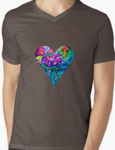 Red Floral Heart Designer Art Gifts Mens V-Neck T-Shirt