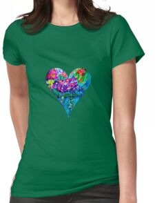 Red Floral Heart Designer Art Gifts Womens Fitted T-Shirt
