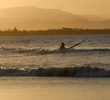 Surfer at Byron Bay by peter