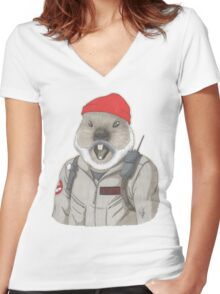 Bill-Hog Women's Fitted V-Neck T-Shirt