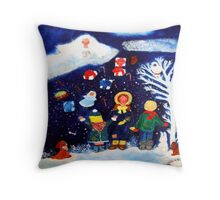 Angel Showering Gifts by Marie-Jose Pappas Throw Pillow