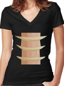 Glitch Ix Land  bone ladder spine 01 Women's Fitted V-Neck T-Shirt