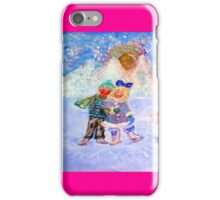 Skaters in Love Decor & Gift by Marie-Jose Pappas Pink iPhone Case/Skin